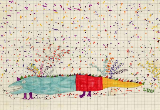 Jonathan Meese, ohne Titel, 1977 (7 Jahre), Bleistift und Buntstift auf Papier, © VG Bild-Kunst, Bonn 2015 / Foto: Jan Bauer