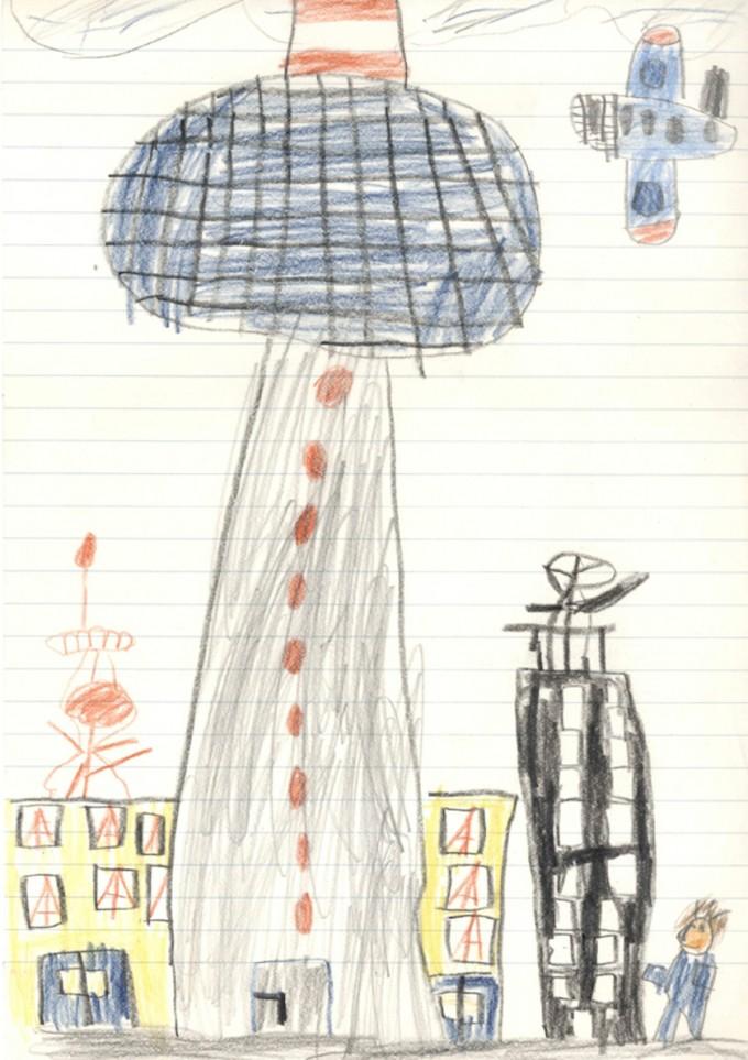 Der zeitgenössische deutsche Künstler Olaf Holzapfel malte mit sechs Jahren den Berliner Fernsehturm.