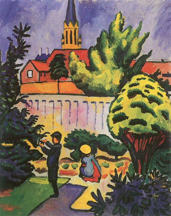 Kinder im Garten (1912). Im Hintergrund die Bonner Marienkirche.